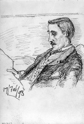 [Man With Moustache, Seated, Reading?]