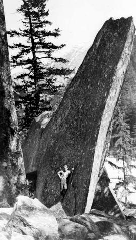 """A slab of granite near the Waddington Trail, from photo by Schnarr, trapper and guide""."