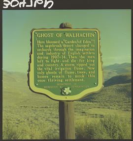 """Ghost Of Walhachin"" Stop of Interest sign near Cache Creek"