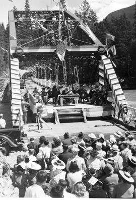 The opening of the Big Bend Highway at Boat Encampment Bridge, Revelstoke.