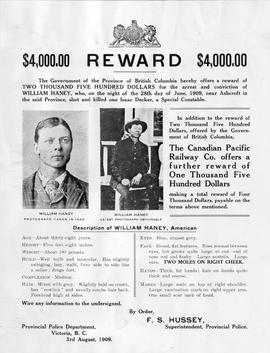 """$4000.00 Reward ... for the arrest and conviction of William Haney..."""