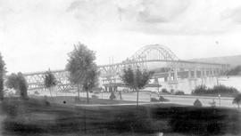 """Fraser River Bridge, New Westminster, BC""; the Pattullo Bridge."