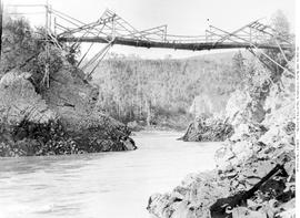 Second Bridge At Hagwilget; Constructed By Local First Nations From Poles And Wire Left By The Ov...