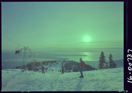 Skiers at Grouse Mountain, North Vancouver.