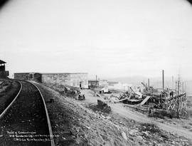 """Head of concentrator and general offices being erected, CMS Co.""; Sullivan Mine, Kimberley, BC."