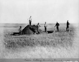 "North American Boundary Commission; ""Sappers building boundary mound, No. 148."""
