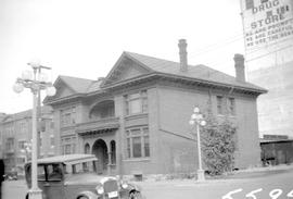 Dr. R. L. Fraser's home on the northeast corner of Douglas and Broughton Streets, Victoria.