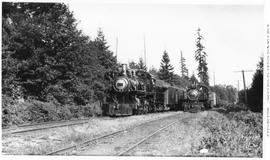 4-6-0 Esquimalt and Nanaimo [E & N] No. 460. Meet between No. 460 (passenger) and Consolidati...
