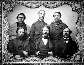 Members of the first Legislative Assembly on Vancouver Island, 1856 - 1859; Victoria; Dr. J.S. Helmcken in the centre of the front row.