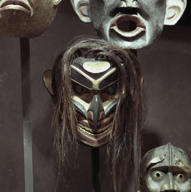 Display of First Nations masks at the BC Provincial Museum, Victoria.