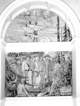 Mural in the legislative buildings depicting Captains Vancouver and Quadra.
