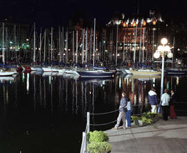 Swiftsure boats, the Empress Hotel and the causeway on Victoria's Inner Harbour