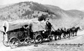 """Early days on the Cariboo Road""; driver William James Nelson with horse team and freight wagons ready to pull out; photographer's No. 8."