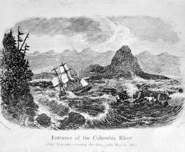 """Entrance to the Columbia River, ship Tonquin crossing the bar""."