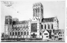 """Proposed cathedral, Victoria, BC; J.C.M. Keith, Architect""; Christ Church Cathedral; Q..."