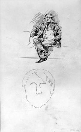 [Seated Man And Beginning Of Sketch Of Head]