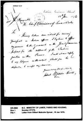Letter from Gilbert Malcolm Sproat to the Chief Commissioner of Lands and Works re Joint Commission
