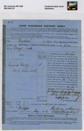 Cabin Passengers' Contract Ticket. Ship Cyclone, London to Victoria, on May 1, 1862