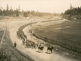 48th Battalion, Canadian Expeditionary Force, on the march, nearing Parson's Bridge, Victoria