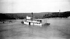 SS BX sinking in Fort George canyon on the Fraser River.