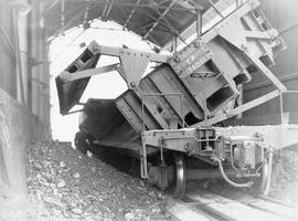Cominco Sullivan Concentrator; Unloading Coarse Crushed Ore; Kimberley.