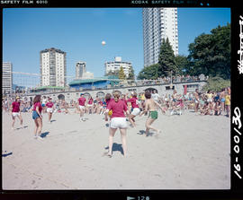 Playing Volleyball At English Bay Beach, Vancouver