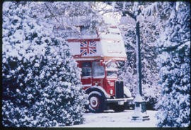 London-Style Tour Bus In The Snow, Victoria