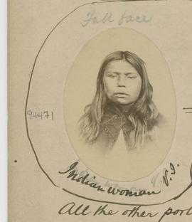 Full face.   Indian woman V.I. [Vancouver Island].  All the other portraits are of men.