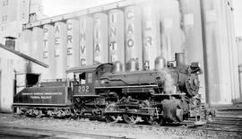 0-6-0  No. 202 Switcher, 3/4 Right. Closeup. Good Detail. Slope-Back Tender Lettered Vancouver Ha...
