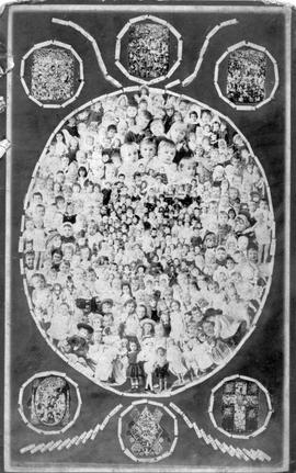 """British Columbia Gems of the Year 1887""; composite; photo made from the children's portraits taken the previous year; at top and botton are six 'Gems' from previous years."