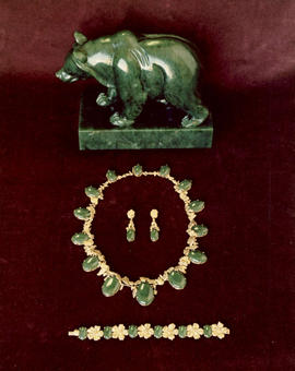 Jade and gemstone jewelry and a bear carved in jade, given to members of the Royal family to mark...