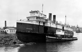 SS Iroquois aground in Victoria Harbour.