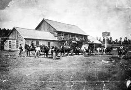 Stagecoaches in front of Clinton Hotel