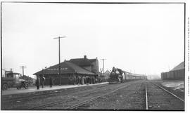 4-6-0 Esquimalt and Nanaimo [E & N] No. 460. Arriving at Nanaimo station with mail car, bagga...