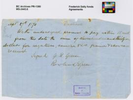 Promissory note signed by G.R. Green and Rowland E. Green
