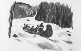 Re-creation of Simon Fraser shooting rapids in a canoe, upper Fraser Canyon, 1808; #17.