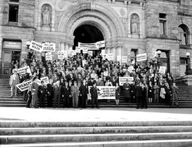 Labour Lobby Demonstration, Victoria; On The Steps Of The Legislative Buildings.