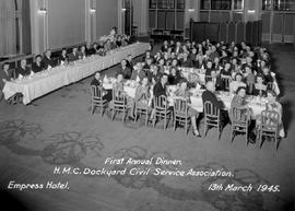 """First Annual Dinner, HMC Dockyard Civil Service Association, Empress Hotel, 13th March 1945..."