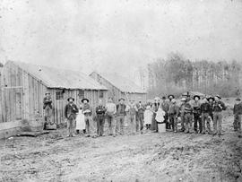 Construction camp; lower Fraser Valley, during the construction of the dyke.