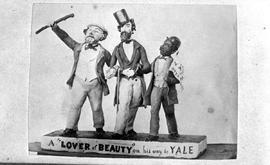 """A Lover of Beauty on his way to Yale:""; a cartoon in sugar of John Gustavus Norris, Amor De Cosmos and Mifflin Wistar Gibbs; delegation to the Confederation League convention in Yale; created by Victoria confectioner Andrew W. Piper."